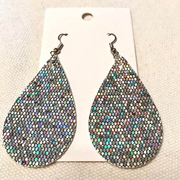faux glitter handmade poshmark listing earrings canvas leather m